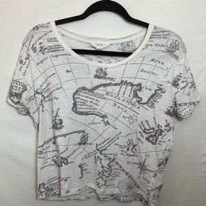 Map Patterned Forever 21 Comfy Tee Shirt
